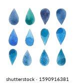 Blue Colorful Drop Watercolor...