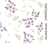 seamless cute floral vector... | Shutterstock .eps vector #1590931504
