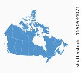 canada blue map on white... | Shutterstock .eps vector #1590944071