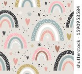 seamless childish pattern with... | Shutterstock .eps vector #1590953584