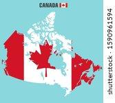 vector icon canada flag map.... | Shutterstock . vector #1590961594