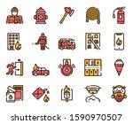 firefighting red linear vector... | Shutterstock .eps vector #1590970507