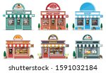 set of detailed city shop... | Shutterstock .eps vector #1591032184