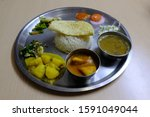 Dal Bhat Dish Served On A Metal ...