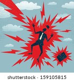 abstract businessman has a big... | Shutterstock .eps vector #159105815