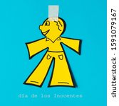 Small photo of a paper man on a blue background, as a prank for the dia de los inocentes, the innocents day, a feast held in spain, hispanic america and philippines equivalent to april fools day