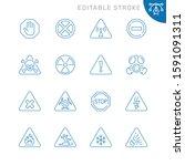 danger related icons. editable... | Shutterstock .eps vector #1591091311