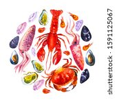 watercolor set with ffish ... | Shutterstock . vector #1591125067