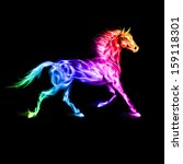 Running fire horse in spectrum colors on black background. - stock vector