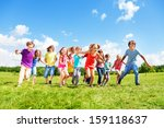 large group of kids  friends... | Shutterstock . vector #159118637