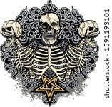 gothic sign with skull  grunge... | Shutterstock .eps vector #1591193101