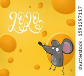 cute rat mouse live in cheese... | Shutterstock .eps vector #1591297117
