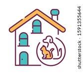 pets allowed color line icon....