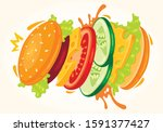 tasty burger  fast food... | Shutterstock .eps vector #1591377427