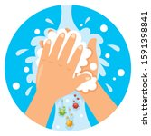 washing hands for daily... | Shutterstock .eps vector #1591398841