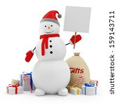 Happy Snowman with Blank Board and Christmas Accessories isolated on white background - stock photo