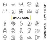 medicine icons set with...