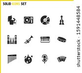 melody icons set with singer... | Shutterstock . vector #1591448584