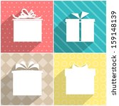 Set of four icons of gift boxes with colorful backgrounds. Vector version.