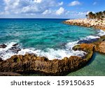 the sea coast in xcaret park... | Shutterstock . vector #159150635