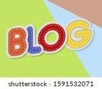 blog letters banner with border ...   Shutterstock .eps vector #1591532071
