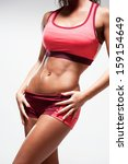 super fit young woman showing... | Shutterstock . vector #159154649