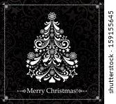 christmas card. christmas tree. ... | Shutterstock .eps vector #159155645