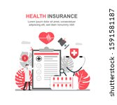 health insurance concept.... | Shutterstock .eps vector #1591581187