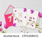 newlyweds wedding ceremony... | Shutterstock . vector #1591608421