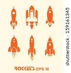 rocket set vector eps 10 | Shutterstock .eps vector #159161345