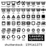 icon set of laundry symbols ... | Shutterstock .eps vector #159161375