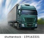 green truck on highway | Shutterstock . vector #159163331