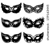 six mask silhouettes | Shutterstock .eps vector #159163445