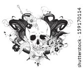 Skull With Flowers Vector...