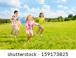 kids chasing butterfly with the ... | Shutterstock . vector #159173825