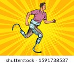 disabled man running with legs...   Shutterstock .eps vector #1591738537