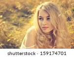 toned portrait of blonde woman... | Shutterstock . vector #159174701