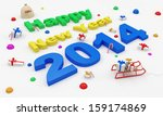 New Year 2014 on white snow with Christmas Accessories   - stock photo