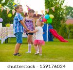 three little kids celebrating... | Shutterstock . vector #159176024