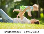 happy father and daughter in... | Shutterstock . vector #159179315