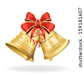christmas bells with red bow on ...   Shutterstock .eps vector #159181607