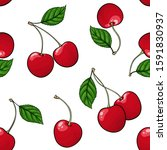 seamless pattern red cherry...   Shutterstock .eps vector #1591830937