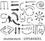 hand drawn arrows vector with... | Shutterstock .eps vector #1591843051