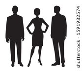 the black silhouettes of men... | Shutterstock . vector #1591932574