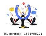 smiling guy with big slingshot... | Shutterstock .eps vector #1591958221