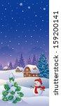 vector illustration of a snowy... | Shutterstock .eps vector #159200141