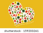 vegetables and fruits on white... | Shutterstock . vector #159203261