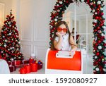 Funny Child Girl Sends A Letter ...