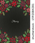 poinsettia and holly leaf frame ... | Shutterstock .eps vector #1592084281