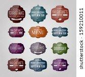 vector set of vintage glossy... | Shutterstock .eps vector #159210011